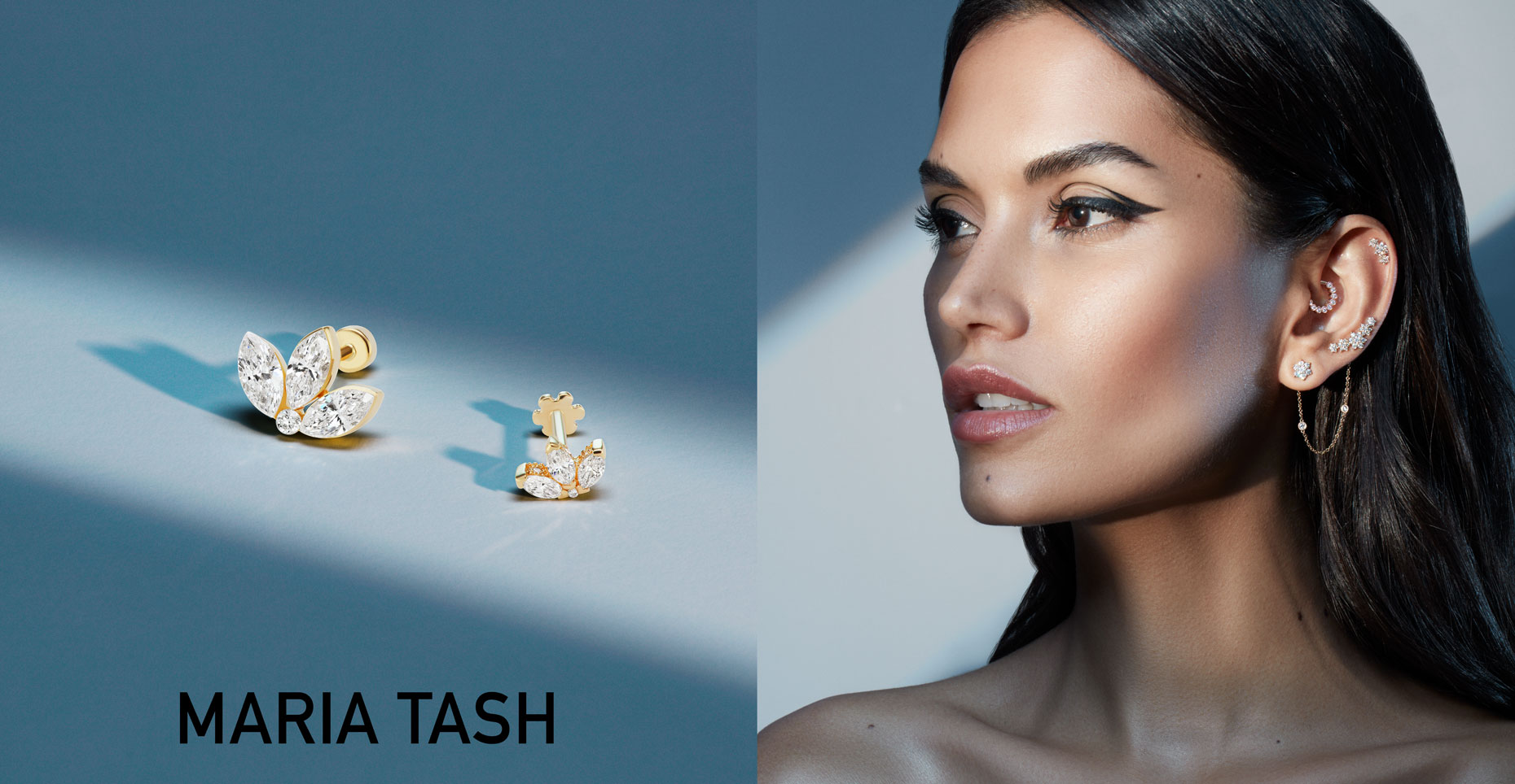 Maria Tash campaign photoshoot ear piercing model Aline Lima diamond and gold ear jewelry